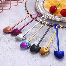 Красочная ложка из нержавеющей стали ложки с ручкой столовые приборы мороженое для питья Кухонные гаджеты ложки, кухонные принадлежности#25
