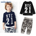 New Child Boy Clothes Set Spring Autumn Long Sleeve Cotton Letters Printed T-shirt+Pants Kids Baby Boys Casual Sets 2pcs 1-6T