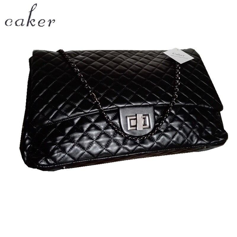 Caker 2017 Large Diamond Lattice Bag Women PU Handbag Embroidery Shoulder Bag Maxi Messenger Black Silver Chian Travel Bags Bags