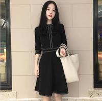 Black A Line Women Dress Vintage Elegant Full Sleeve Ladies Dresses Korean Party Work School Femme