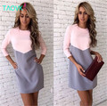 TAOVK Russian style design new 2016 fashion women Autumn dress Patchwork Pink+Gray long sleeve O-neck slim dress