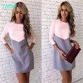 Taovk estilo ruso diseño nuevo 2016 mujeres de la moda otoño dress patchwork rosa + gris de manga larga del o-cuello slim dress