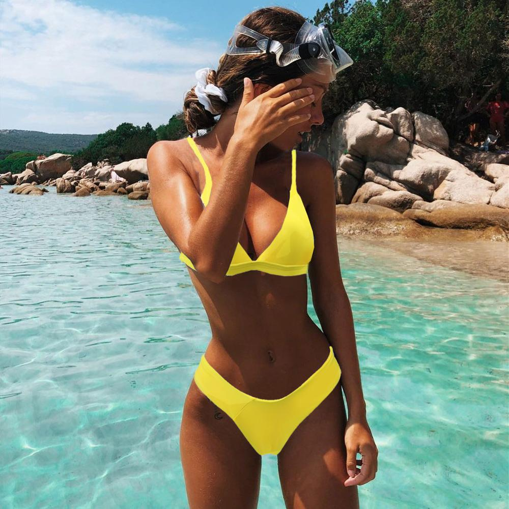 Mini Bikini Set Micro Swimsuit Women Push Up Bikini 2021 Sexy Swimwear Halter Bandage Bathing Suit Solid Mayo Brazilian Biquini