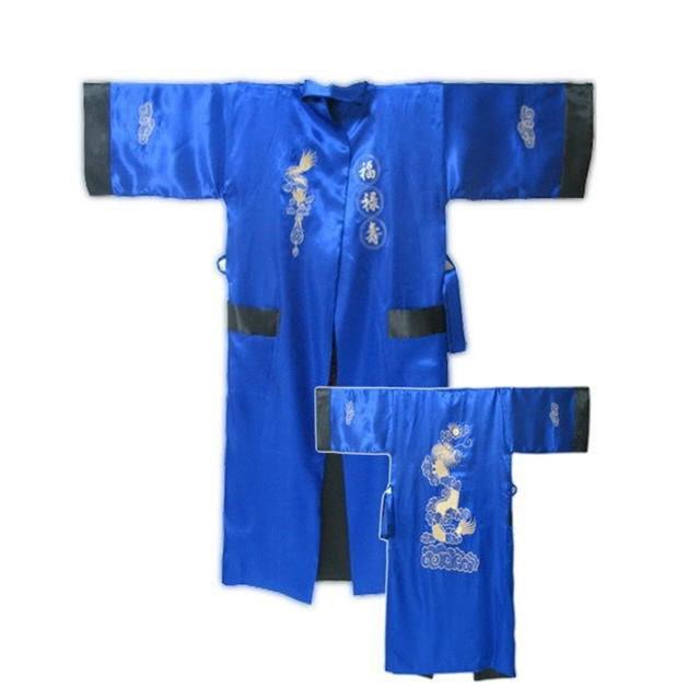 Nuevo Azul Negro Chino Masculino Albornoz Reversible de Dos Cara de Satén Salón ropa de Noche Bordado Robe Gown Kimono vestido de Un Tamaño ZR35