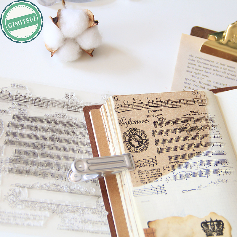 Novelty Music Notes Silicone Clear Stamp Seal Sheet DIY Scrapbooking Note Diary Craft Paper Card Photo Album Decor Old Script clothes rack and telephone set for clear stamp designs scrapbookin photo album paper card silicone stamp craft rm 246