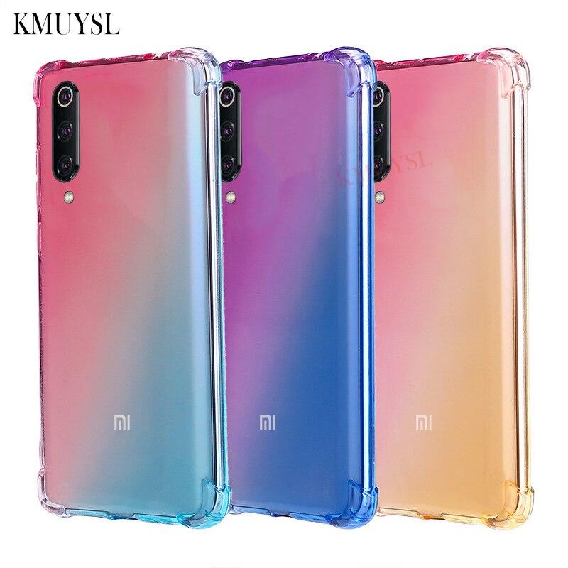 For Xiaomi Mi 9 Mi9 Case Gradient Colorful Silicone Back Cover For Xiaomi Redmi Note 7 7 Pro Shockproof Transparent Phone Case redmi note 7 pro cover