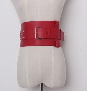 Image 5 - Nowe damskie ultra plus szerokie akcesoria do paska Faux Leather elastyczny gorset pas z przodu metalowa klamra pas biodrowy dziewczyna ubrać dekorację