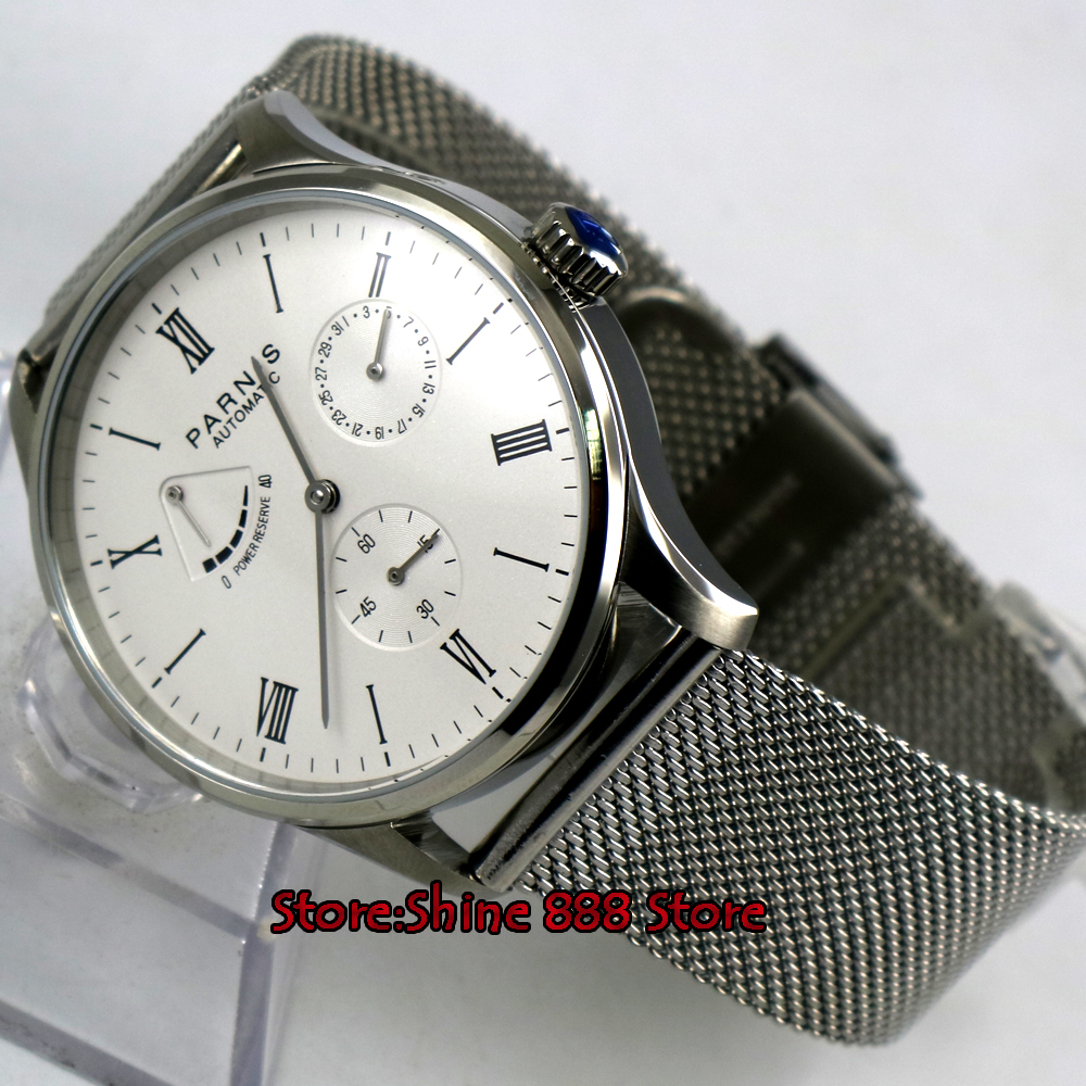 42mm Parnis white dial date power reserve ST1780 automatic mens watch Mechanical Watches     - title=