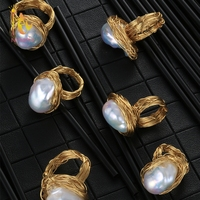 NYMPH Natural Fresh water Pearl Ring Big Pearl Ring For Women Near Round Fine Jewelry Luxurious Wedding Bands J315