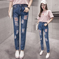 2017 Sale Zipper Fly Wide Leg Pants High Jeans Woman New Korean Spring Large Size Women Jeans Waist Elastic Pants Slim Leggings