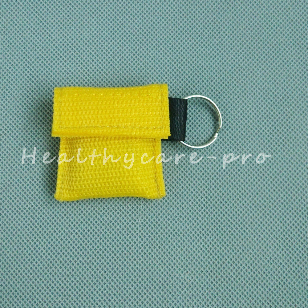 ФОТО 100 PCS /lot CPR MASK WITH KEYCHAIN CPR FACE SHIELD For Cpr/AED YELLOW COLOR NEW