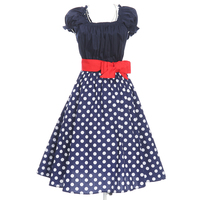 Wholesale Dropshipping Free Plus Size Women Dress Party Prom Dress Vintage Style Polka Dots Sash Belt