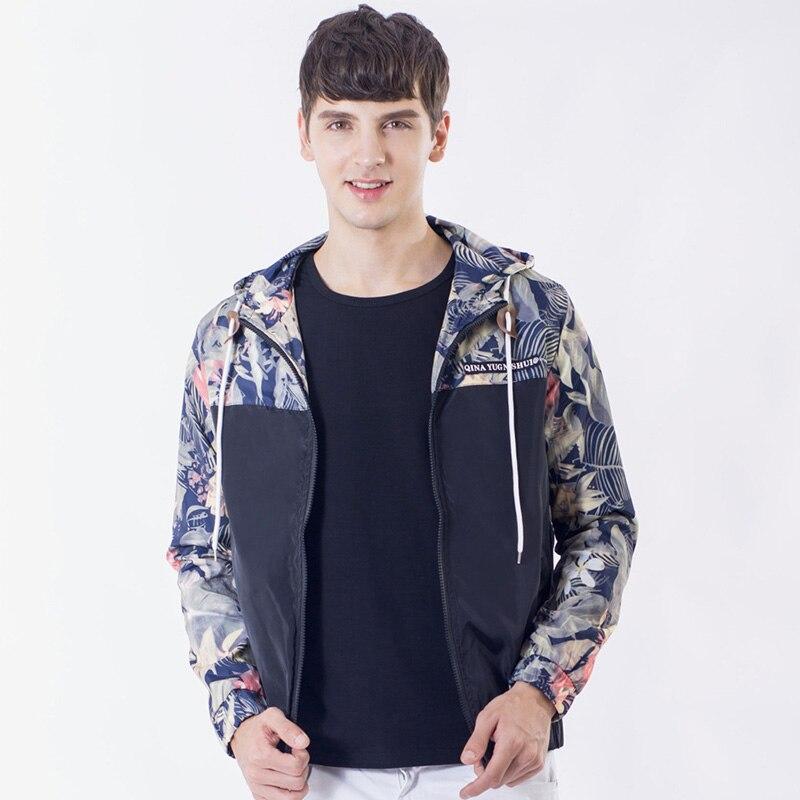 Drop Shipping Florals Bomber Jacket Men Hip Hop Slim Fit Flowers Pilot Jacket Coat Men's Hooded Jackets US Size Free Shipping