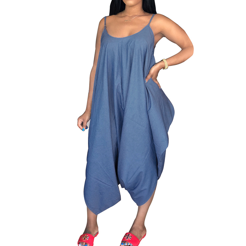 Jumpsuits for Women 2018 Overalls Sleeveless Strappy Wide Leg Pants Vintage Women Oversized Playsuit Denim Blue Pantalon Romper