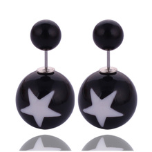 14 Colors New Fashion Jewelry Double Side Matte 16MM Pearl Stud Earrings Simple Classic White Star Design Earrings For Women