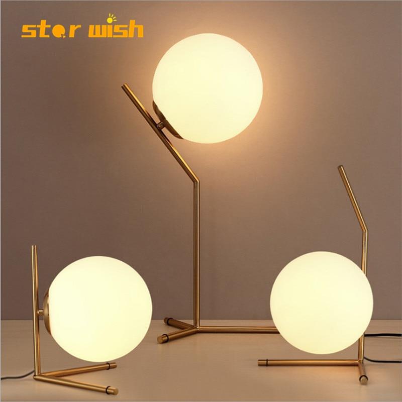 Star Wish Modern Nordic Glass Ball Table Lights Retro Vintage Desk Lamp E27 Loft For  Bedroom Beside Lamp Gold Black  EU Plug