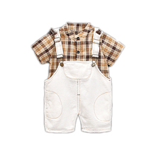 Summer Toddler Infant Clothing Baby Girls Boys Clothes Sets Standing collar Plaid Shirt Strap Shorts Kids Children Costume Suits цена и фото