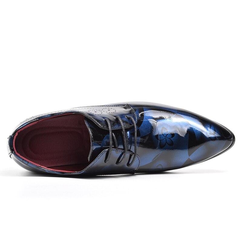 Pointu Chaussures Plus Bleu jaune De La Cuir rouge Zapatos Bout gris En 48 Oxford Taille Mariage Robe Formelle D'affaires Brevet Pour Hommes vzt6UB
