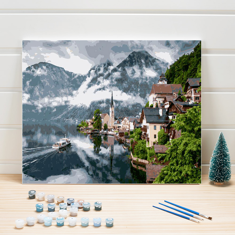 Coloring By Number For Adults Town Scenery Acrylic,Paint Painting By Numbers On Canvas Pictures For Living Room Wall One Piece