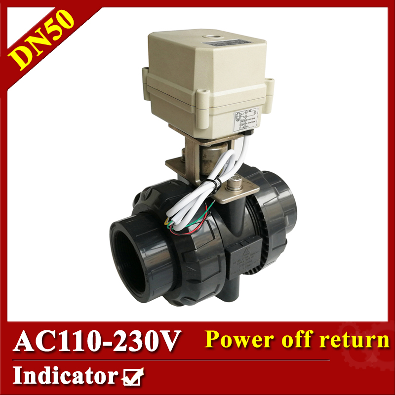 Tsai Fan motorized ball valve 2 AC110-230V 2/5 wires electric valve DN50 UPVC ball valve normal close/open for HVAC systems tsai fan motorized ball valve 2 ac110 230v 2 5 wires electric valve dn50 upvc ball valve normal close open for hvac systems