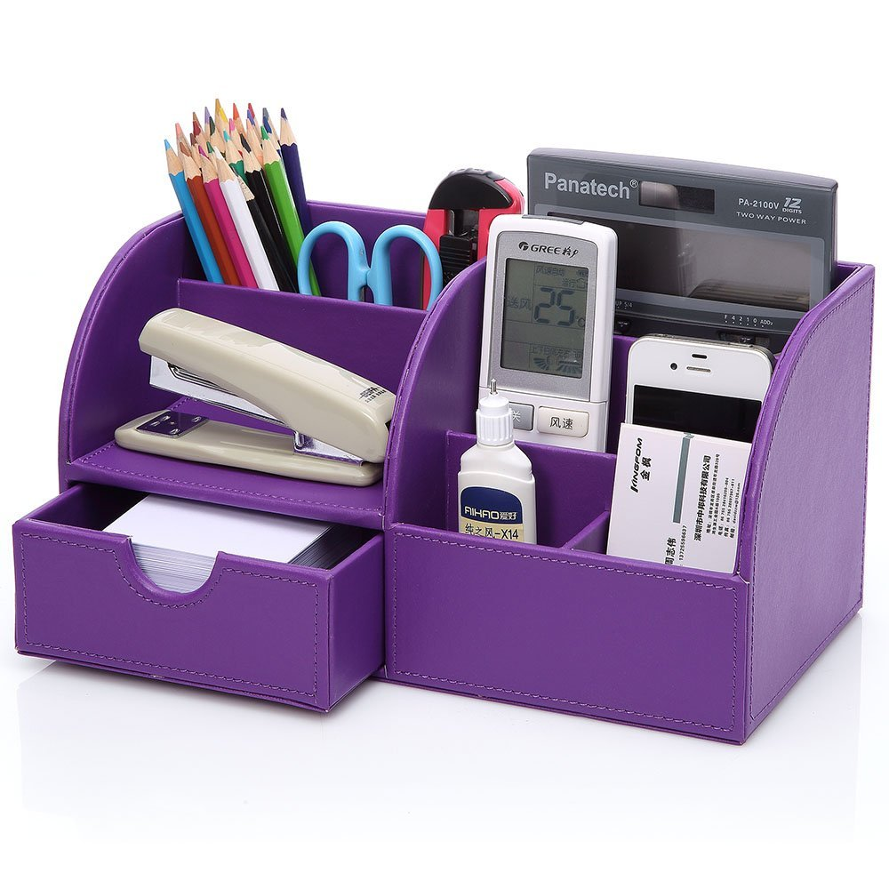 Purple 7 Storage Compartments Multifunctional Pu Leather Office Desktop Organizer Stationery Box Collection Pen
