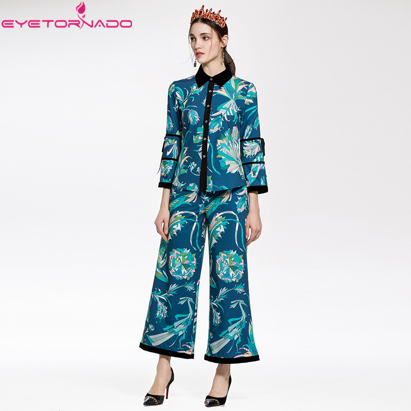 Women flare sleeve velvet patchwork florl print ribbons blouse top + wide leg pant suit spring causal boho suit uniform pajama cropped wide sleeve top