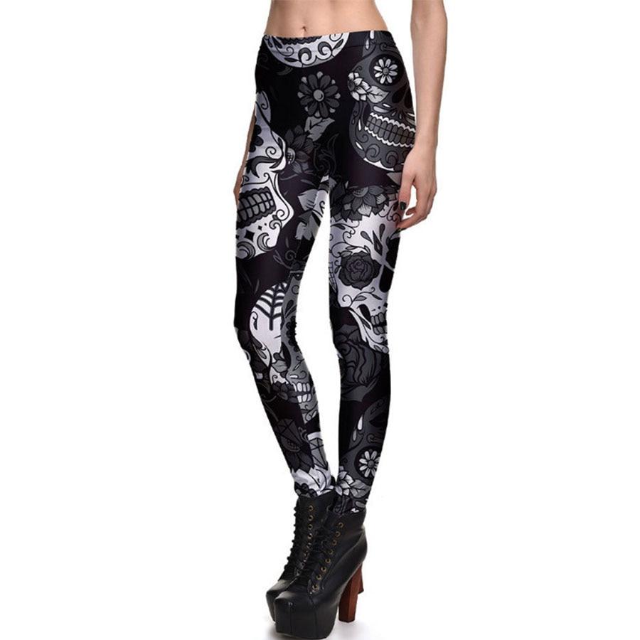Push Up Leggings Women Workout Slim Leggings Colorful Skull Increase Size Printing Fit Trousers Women Fashion Pencil Pant winter