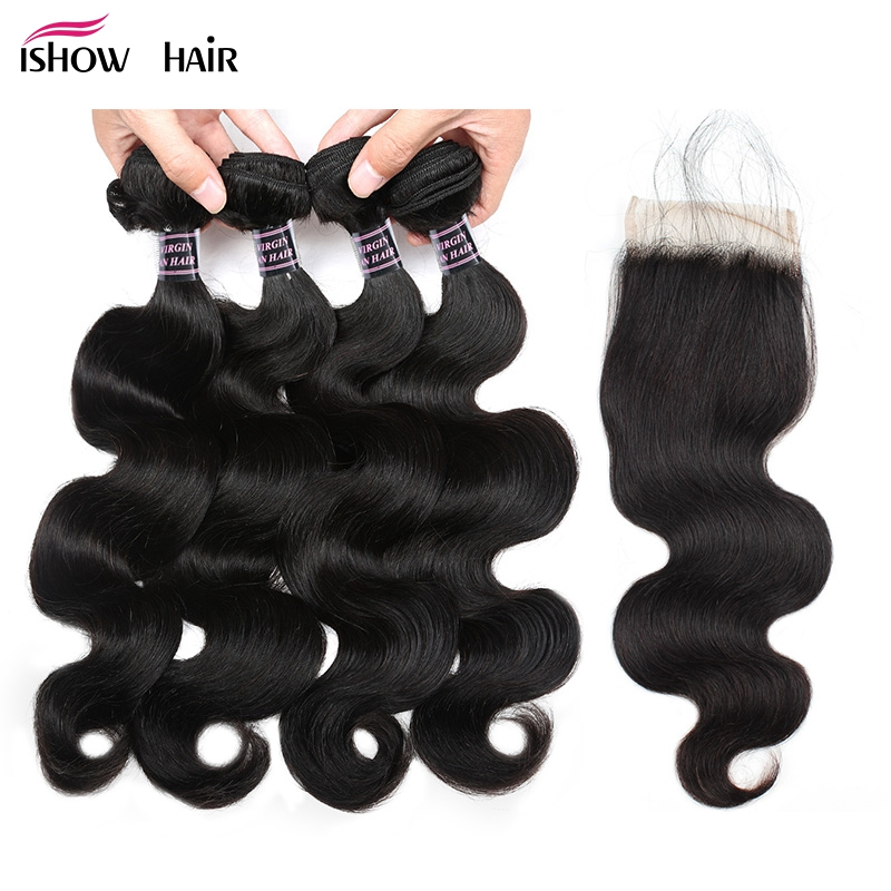 Ishow Indian Body Wave 4 Bundles Human Hair Bundles With Closure 100 Human Hair Lace Closure