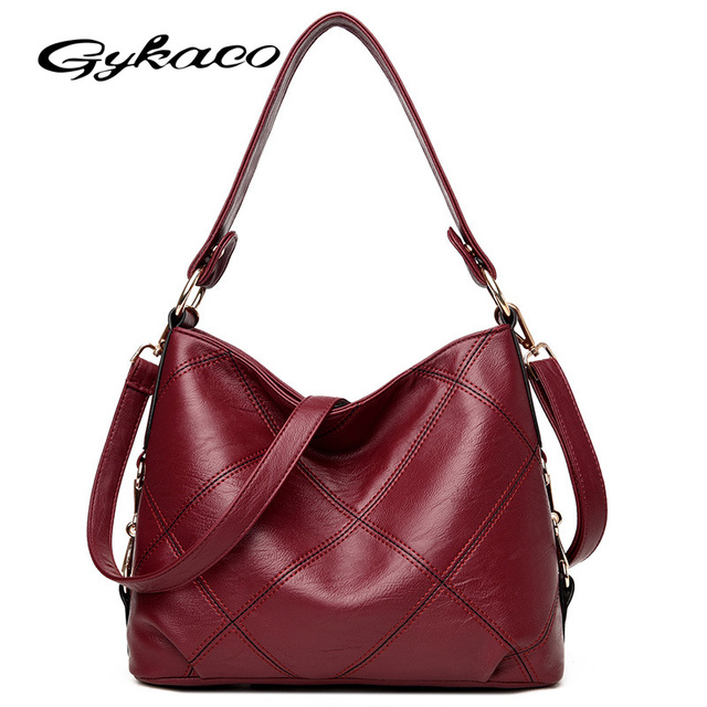 77d737973c Gykaeo Brand Luxury Handbags Women Bags Designer Soft Leather Hobos  Shoulder Bags For Women Plaid Messenger Tote Bag Sac A Main