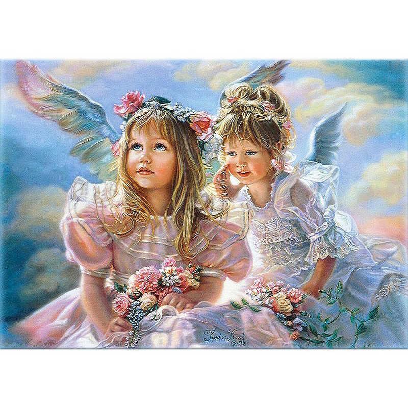 اثنين من الفتيات الملاك دروبشيبينغ الطلاء بواسطة أرقام Figure بها بنفسك الشكل جدار صورة فنية الاكريليك قماش اللوحة للزينة الزفاف