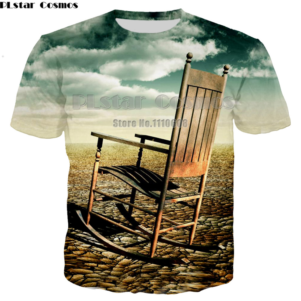 Kind-Hearted Plstar Cosmos 3d Print Chair T Shirt Men/womens Tees Summer Tops Short Sleeve Water Landscape T Shirts Fashion Hip Hop T-shirt Elegant In Style Tops & Tees