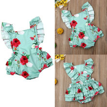 Newest Fashion Kids Baby Girls Clothes!! US Infant Girl Rose Flower Ruffle Jumpsuit Sunsuit Summer Outfit Beautiful Clothes