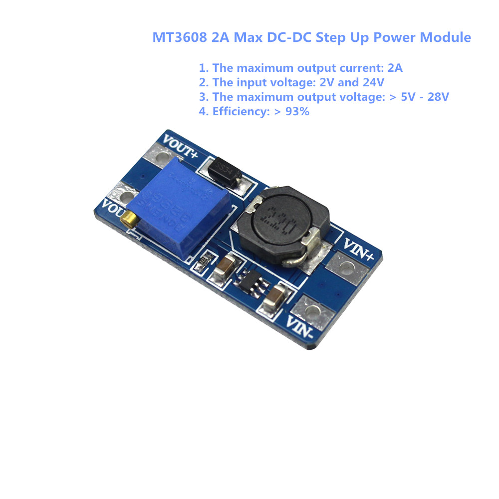 MT3608 2A Max DC DC Step Up Power Module Booster Power Module For Arduino