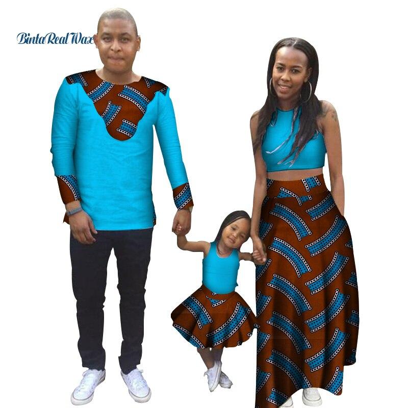 Семейная одежда в африканском стиле с принтом, мужская рубашка, женский укороченный топ и юбки, платья для девочек, семейная одежда с восков