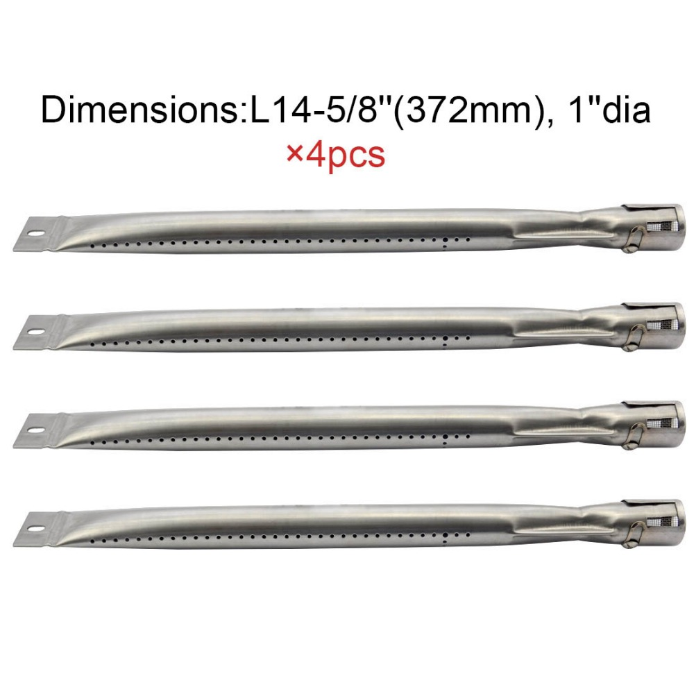 Grill King 14251 BBQ Parts Gas Grill Replacement 14.6 Inch Straight Stainless Steel Burner 4pack