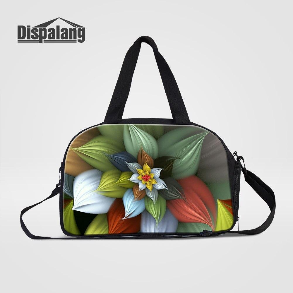 Dispalang Womens Outdoors Travel Bags Cute Icecream Flower Printed Weekender Duffle Bag Female Hand Luggage Duffel Trip Handbag