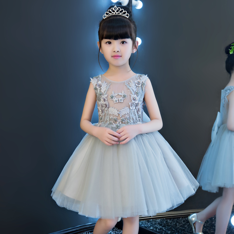 Tulle Flower Girl Dresses Wedding Appliques Beading Princess Dress Big Bowknot Ball Gown Kids Pageant Dress for Birthday Party