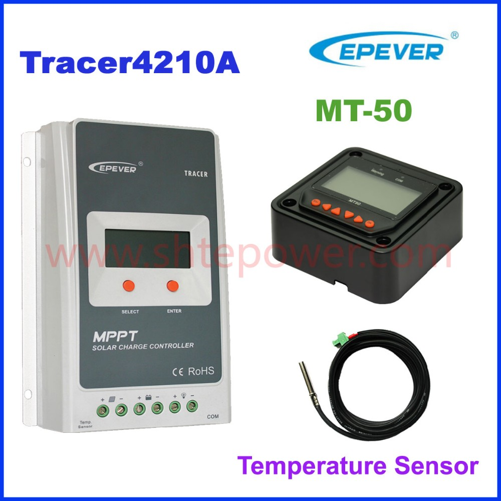 new tracer4210a mppt controller solar with battery Temperature Sensor cable,12v 24v automatic 40a solar panel controll
