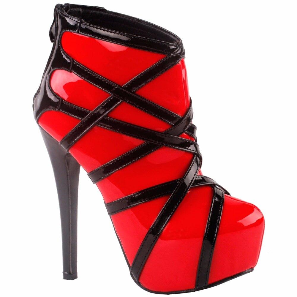 LF80858 afficher l'histoire Punk rouge noir à bretelles plate-forme Stiletto bottines