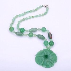 Натуральный камень цветок кулон кристалл ювелирные изделия для женщин Нефритовое ожерелье зеленый ручной резной кристалл амулеты и талисм...