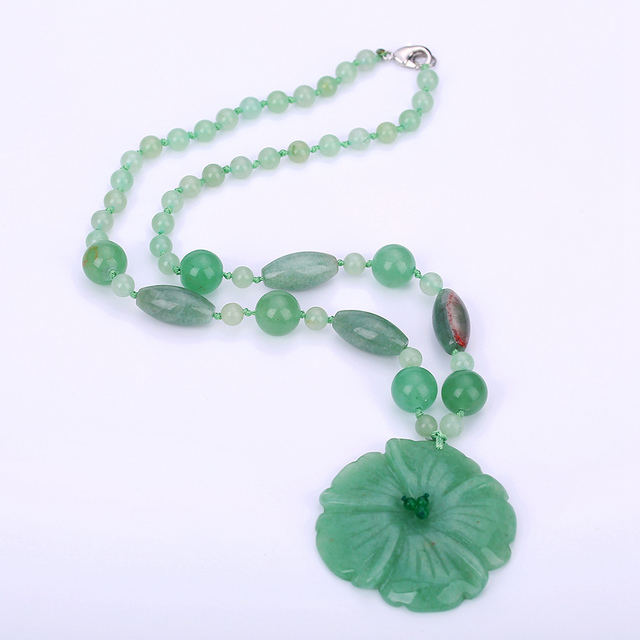 Natural stone flower pendant crystal jewelry for women jade necklace natural stone flower pendant crystal jewelry for women jade necklace green hand carved crystal amulets and aloadofball Images