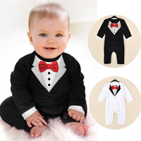 Baby Boy Rompers Button Open Crotch Gentleman Suit Party Clothing Newborn Infant Spring Long Sleeve Clothes