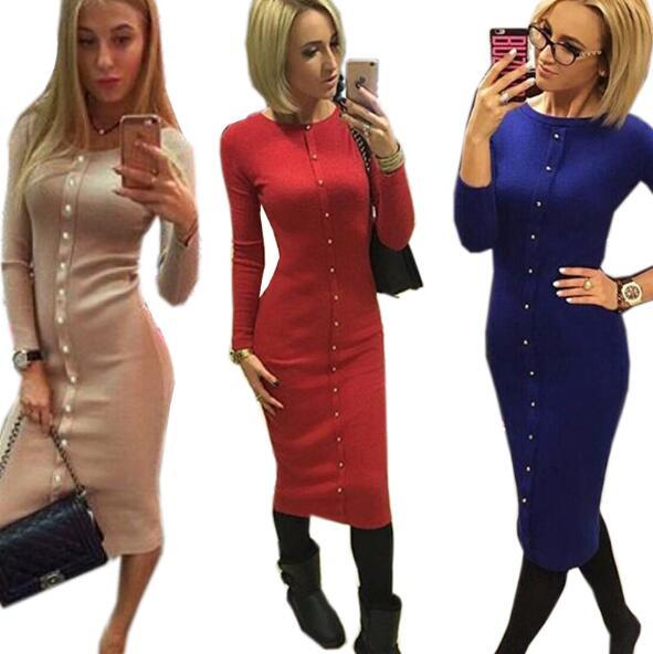 Warm Women Knitted Mid-calf O-neck Dresses