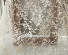 ivory Lace Fabric, Embroidered Lace Fabric, cotton fabric lace, retro floral lace fabric 1 yard floral lace