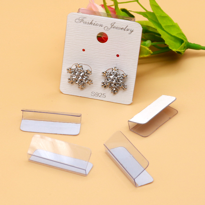 New Thick 100pcs 3x2.5cm Clear Plastic PVC Sticker Ear Hooks Holders Earring Necklace Jewelry Accessory For Card Back