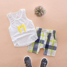 Little Q New Style Summer Pure Cotton Boys O Neck Clothing Set Children Baby 17 Sleeveless+shorts Kids Sleepwear DS19