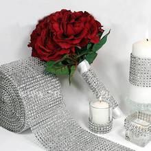 Silver Diamond Rhinestone Flower Mesh Wrap Roll Crystal Rhinestone Sparkle Ribbon DIY Cake Roll Wedding Party Decorations