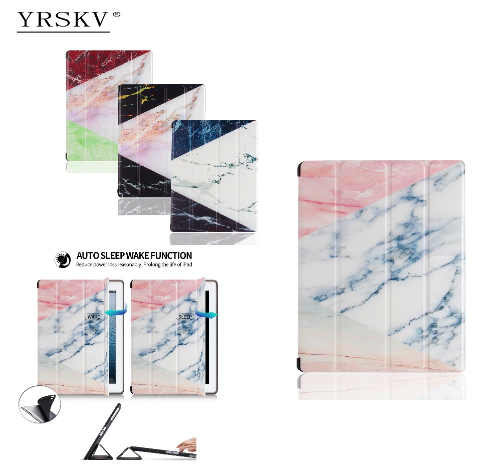 Case for iPad 2 iPad 3 iPad 4 YRSKV Painted marble pattern PU leather cover + TPU silicone Smart Auto Sleep Wake Tablet Case
