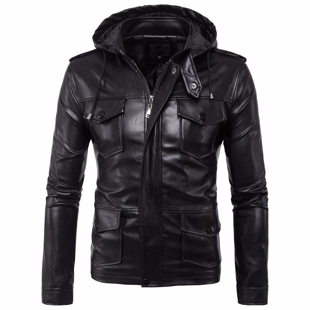 2018 New British Men Hooded Leather Jackets Male Brand Business Casual PU Coats Spring Autumn Motorcycle Leather Jackets 5XL Big