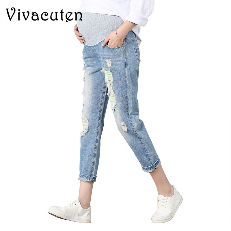 Maternity Jeans For Pregnant Women Pregnancy Denim Pants Spring Hole Trousers Belly Capris Legging Clothing Overalls Pants M39